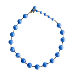 Vintage Miriam Haskell Blue Beaded Necklace