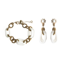Miriam Haskell Vintage Miriam Haskell Link Bracelet and Earrings Set