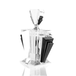 Newbridge Silverware Black Fan Scent Bottle Large