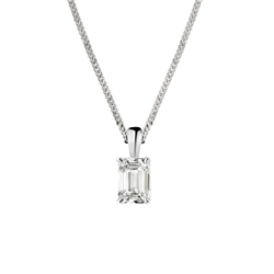 Newbridge Silverware 18ct White Gold Emerald Cut Diamond Pendant