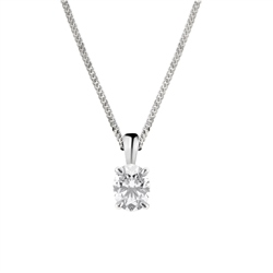 Newbridge Silverware 18ct White Gold Oval Shape Diamond Pendant