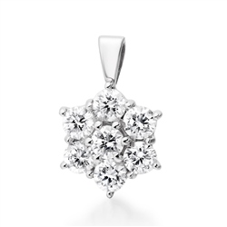 Newbridge Silverware 18ct White Gold Daisy Cluster Diamond Pendant