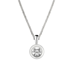 Newbridge Silverware 18ct White Gold Rim Set Diamond Pendant