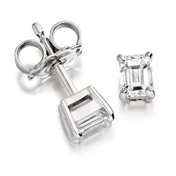 Newbridge Silverware 18ct White Gold Emerald Cut Diamond Earrings