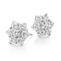 Newbridge Silverware 18ct White Gold Daisy Cluster Diamond Earrings