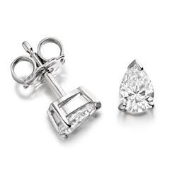 Newbridge Silverware 18ct White Gold Pear shaped Diamond Earrings
