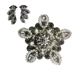 Newbridge Silverware Vintage Weiss Rhinestone Cluster Brooch and Earrings Set