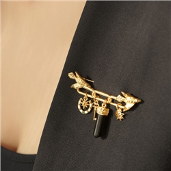 Gold Plated Brooch with Birds & Charms