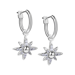 Newbridge Silverware Silver Plated Star Earrings with Clear Stones