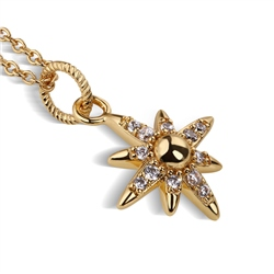 Newbridge Silverware Gold Plated Star Pendant with Clear Stones