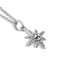 Newbridge Silverware Silver Plated Star Pendant with Clear Stones
