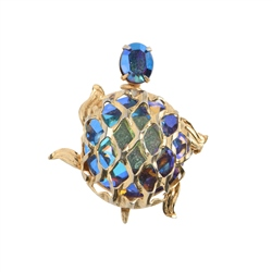 Newbridge Silverware Warner 1960's Aurora Borealis Crystal Turtle Brooch