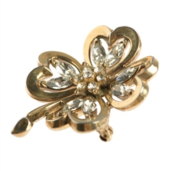 Newbridge Silverware 1940's Trifari Gold Tone Rhinestone Brooch