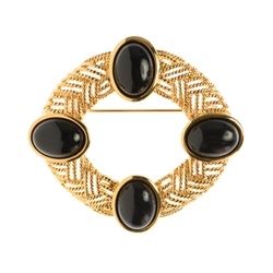 Newbridge Silverware 1960's Trifari Black Cabochon Brooch