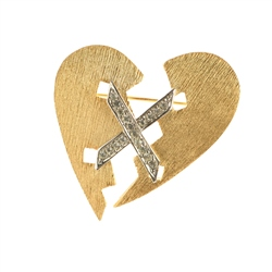 Newbridge Silverware 1980's K.J.L. Broken Heart Pave Brooch