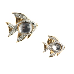 Newbridge Silverware Swarovski Angel Fish Crystal Brooch & Pin Set