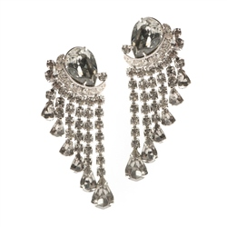 1950s Weiss Rhinestone Drop Earrings