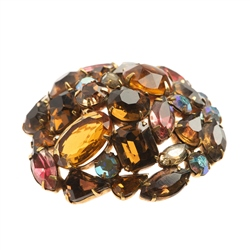 1950s Kramer Multi Coloured Rhinestone Brooch