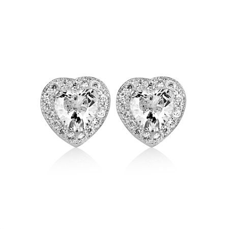 Clear Stone Heart Earrings  - Click to view a larger image