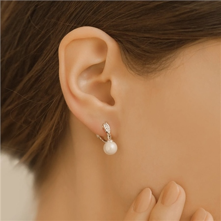 Clip on Earrings with Pearl Drop  - Click to view a larger image