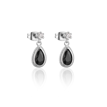 Drop Earrings Black Stone  - Click to view a larger image