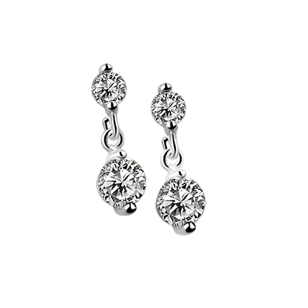Drop Earrings Clear Stone  - Click to view a larger image