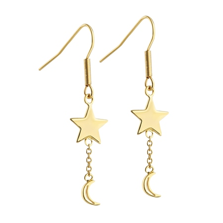Drop Earrings with Star and Moon  - Click to view a larger image