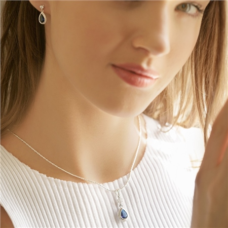 Earrings Blue Stone  - Click to view a larger image