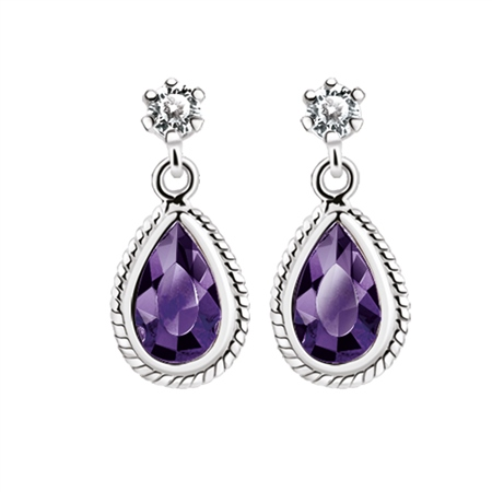 Earrings Purple Stone  - Click to view a larger image