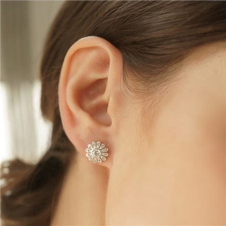 Flower Earrings Clear Stone  - Click to view a larger image