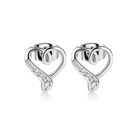 Silver Heart Earrings  - Click to view a larger image