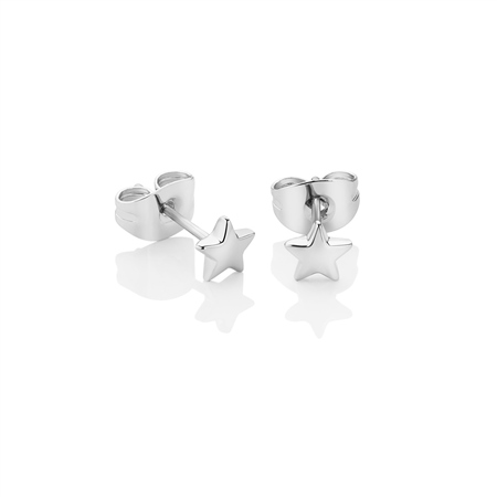 Silverplate Star Stud Earrings  - Click to view a larger image