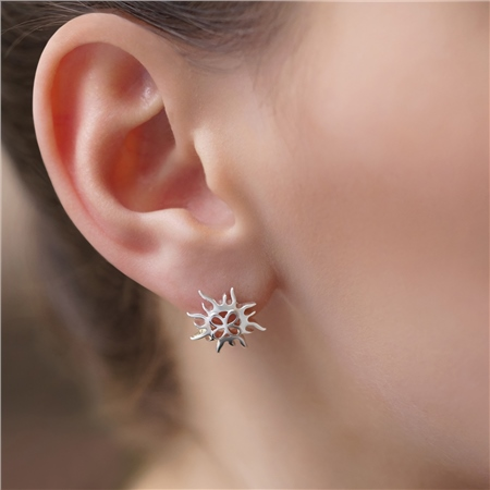 Silver Plated Sun Stud Earrings  - Click to view a larger image