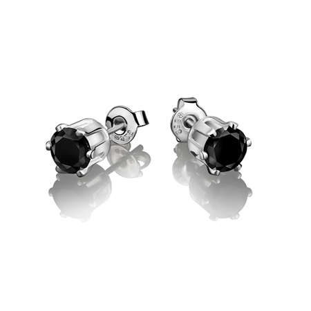 Stud Earring Black Stone 6mm  - Click to view a larger image