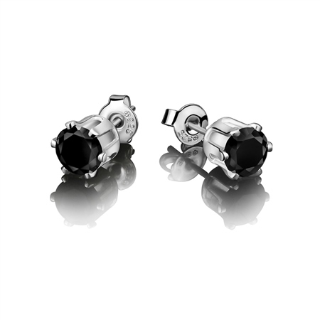 Stud Earring Black Stone 9mm  - Click to view a larger image