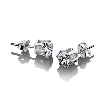 Stud Earring Clear Stone 9mm  - Click to view a larger image