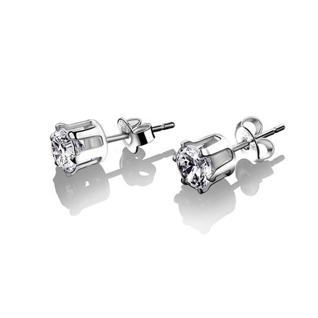 Stud Earrings Clear Stone 6mm  - Click to view a larger image