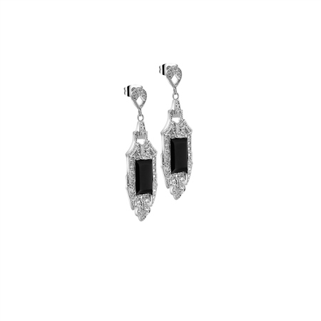 Vintage Drop Earrings Black Agate  - Click to view a larger image