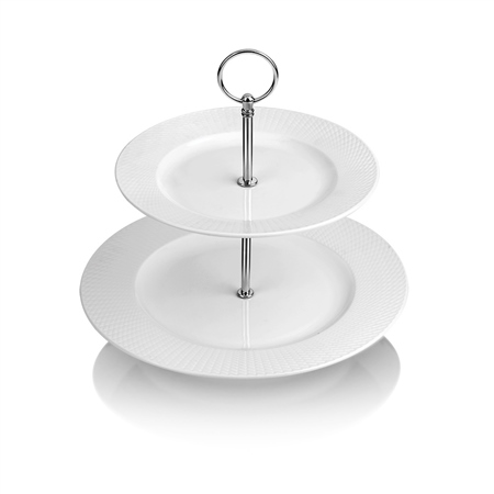 Whiteware 2 Plate Cake Stand  - Click to view a larger image