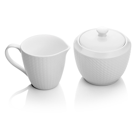 Whiteware Cream and Sugar Set  - Click to view a larger image