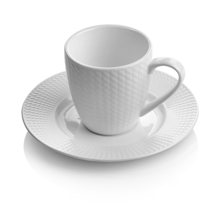 Whiteware Cup & Saucer set of 4  - Click to view a larger image