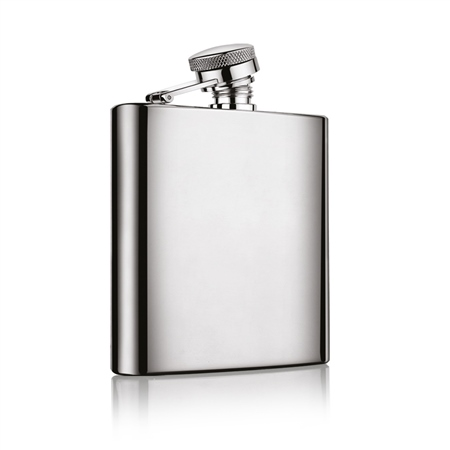 6OZ Hip Flask With Shamrock Ireland Design With Dark Green Leather