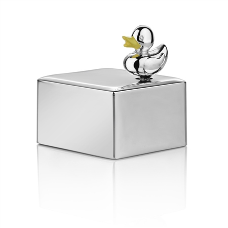 Silver Plated Duck Musical Box  - Click to view a larger image