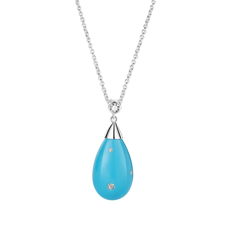 Drop Pendant Turquoise Clear Stones  - Click to view a larger image