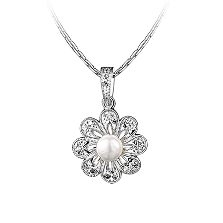 Floral Pearl Pendant  - Click to view a larger image