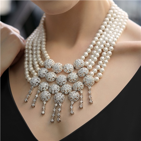 Pearl Statement Necklace  - Click to view a larger image