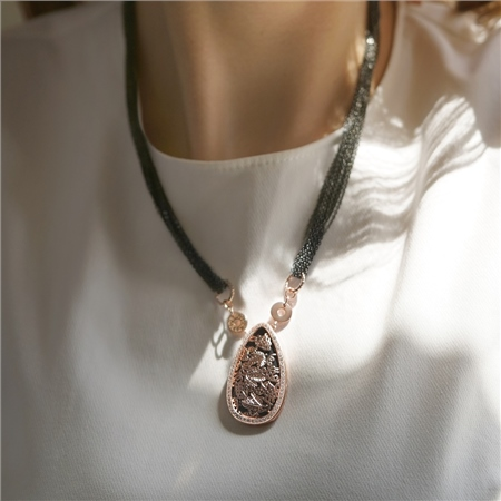 Guinness Rose Gold Blk Necklace  - Click to view a larger image