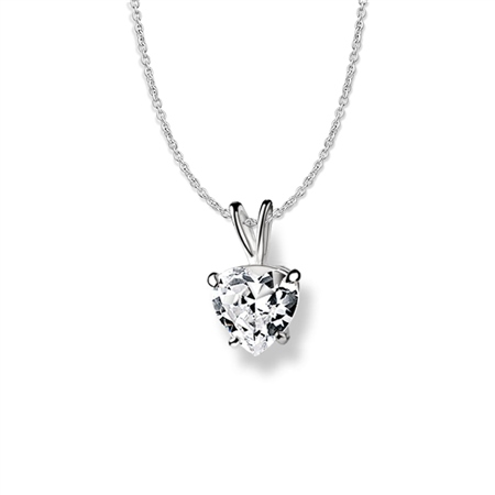 Heart Pendant Clear Stone  - Click to view a larger image