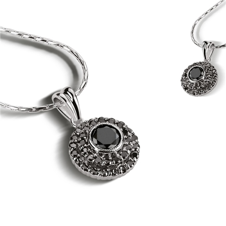 Pendant Clear Black Stone  - Click to view a larger image