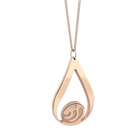 Rose Goldplate Ocean Pendant Clear Stone  - Click to view a larger image